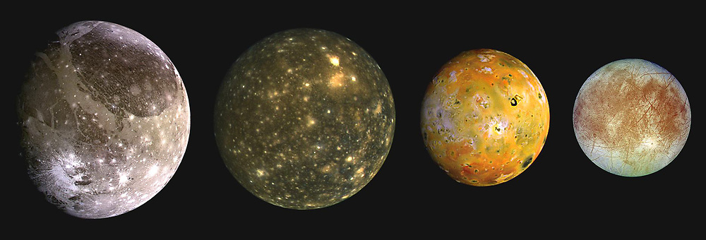 This composite includes the four largest moons of Jupiter which are known as the Galilean satellites. From left to right, the moons shown are Ganymede, Callisto, Io, and Europa. The Galilean satellites were first seen by the Italian astronomer Galileo Galilei in 1610. In order of increasing distance from Jupiter, Io is closest, followed by Europa, Ganymede, and Callisto. The order of these satellites from the planet Jupiter helps to explain some of the visible differences among the moons. Io is subject to the strongest tidal stresses from the massive planet. These stresses generate internal heating which is released at the surface and makes Io the most volcanically active body in our solar system. Europa appears to be strongly differentiated with a rock/iron core, an ice layer at its surface, and the potential for local or global zones of water between these layers. Tectonic resurfacing brightens terrain on the less active and partially differentiated moon Ganymede. Callisto, furthest from Jupiter, appears heavily cratered at low resolutions and shows no evidence of internal activity.