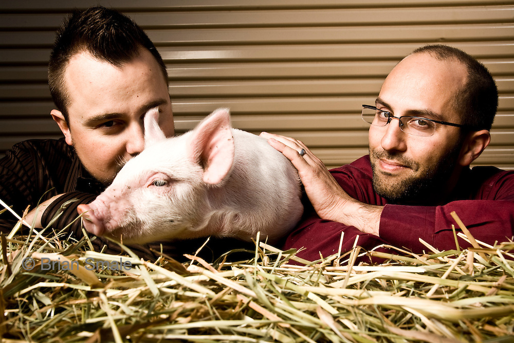Baconsalt founders Justin Esch and David Lefkow, and friend. David (Bald) Justin (Black Hair)