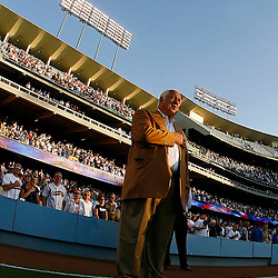 Atlanta Braves vs Los Angeles Dodgers in Los Angeles, Calif., Tuesday night July 3. 2007, Dodgers celebrated 175 million accumulated attendance with prizes and Dodger owner Frank McCourt and Tommy Lasorda during the national anthem. <br />  (SGVN Staff Photo Keith Birmingham/SXSports)