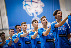 Team Slovenia listening to the National anthem during basketball match between National teams of Great Britain and Slovenia in the Quarter-Final of FIBA U18 European Championship 2019, on August 1, 2019 in Nea Ionia Hall, Volos, Greece. Photo by Vid Ponikvar / Sportida