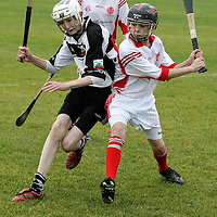 Eire Ogs Dylan Quirke battles with Clarecastles Sean Lynch during the Mother Hubbards U13 Div 1 Final at Clarecastle.Pic Arthur Ellis/Press22.