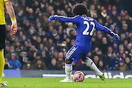 Willian of Chelsea scores the opening goal against Watford during the FA Cup match at Stamford Bridge, London<br /> Picture by David Horn/Focus Images Ltd +44 7545 970036<br /> 04/01/2015