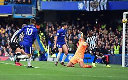 Eden Hazard of Chelsea scores. - Mandatory by-line: Alex James/JMP - 02/12/2017 - FOOTBALL - Stamford Bridge - London, England - Chelsea v Newcastle United - Premier League
