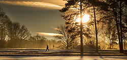 © Licensed to London News Pictures. 18/01/2017. Walton on the Hill, UK. The sun rises on a frosty Walton Heath south of London. Britain is continuing to experience a cold spell. Photo credit: Peter Macdiarmid/LNP