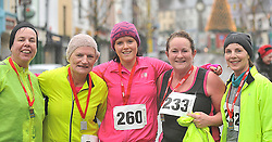 Pauline Moran, Mary Reidy, Fiona Walsh, Marian McManamon and Bernie Ludden at the Streets of Westport 5K run on New Year's Day.<br /> Pic Conor McKeown