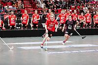 2019-04-27 |Stockholm | Storvreta IBK (92) Alexander Rudd and Falun (9) Alexander Galante Carlström during the Final Game in SSL Floorball between Storvreta IBK and IBF Falun at Globen Arena. (Photo by: Daniel Carlstedt | Swe Press Photo).
