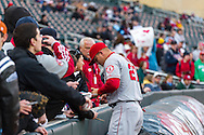 Mike Trout #27 of the Los Angeles Angels signs autographs for fans prior to a game against the Minnesota Twins on April 16, 2013 at Target Field in Minneapolis, Minnesota.  The Twins defeated the Angels 8 to 6.  Photo: Ben Krause