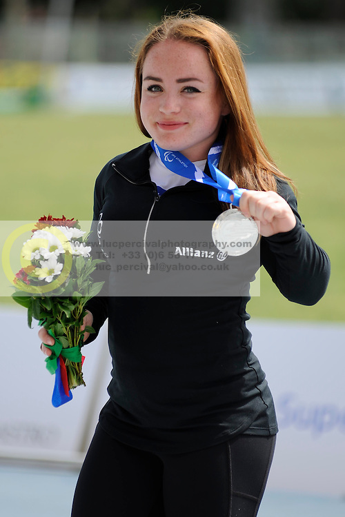 16 / 06 / 2016,  Niamh McCarthy (Carrigaline, Co. Cork), F41 class, Paralympics Ireland Athletics, pictured on the podium with her silver medal, F40/41 class discus, at the 2016 IPC Athletic European Championships in Grosseto, Italy.