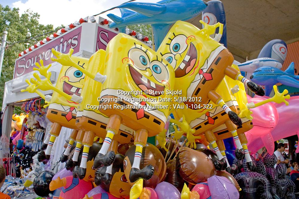 SpongeBob SquarePants animated television cartoon character pop culture balloons. Minnesota State Fair St Paul Minnesota MN USA