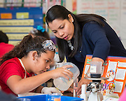 Nancy Romero teaches fifth grade science at Pilgrim Academy, May 13, 2015.