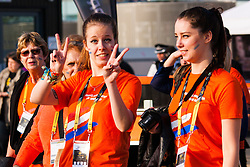 Queen Elizabeth Olympic Park, London, September 10th 2014. Dutch supporters heaf for the opening ceremony for the Invictus Games, where over 400 competitors from 13 nations will take part in an international sporting event for wounded, injured and sick Servicemen and women.