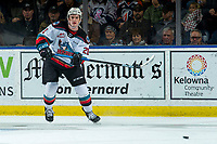 KELOWNA, BC - DECEMBER 27: Jake Lee #21 of the Kelowna Rockets passes the puck during first period against the Kamloops Blazers at Prospera Place on December 27, 2019 in Kelowna, Canada. (Photo by Marissa Baecker/Shoot the Breeze)