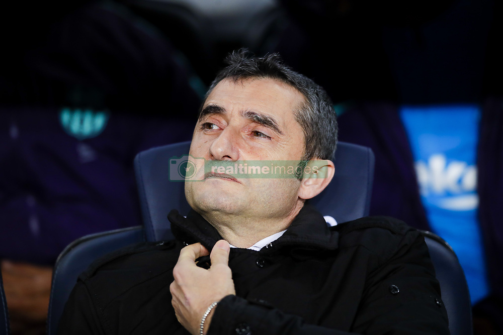 February 6, 2019 - Barcelona, Catalonia, Spain - February 6, 2019 - Camp Nou, Barcelona, Spain - Copa del Rey - FC Barcelona v Real Madrid CF; Ernesto Valverde of FC Barcelona focused on the match. (Credit Image: © Marc Dominguez/ZUMA Wire)