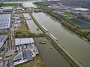 Nederland, Utrecht, Nieuwegein, 25-02-2020; Vreeswijk, Lekkanaal is verbreed in verband met de renovatie van de nabijgelegen Prinses Beatrixsluis. Historische delen van  Nieuw Hollandse Waterlinie (NHW) zijn behouden door ze te verplaatsen, de liniedijk is opgeschoven.<br /> The Lek canal has been widened while preserving historical parts of the New Holland Waterline (NHW) have been retained by relocating them, the line dyke has shifted.<br /> luchtfoto (toeslag op standard tarieven);<br /> aerial photo (additional fee required)<br /> copyright © 2020 foto/photo Siebe Swart