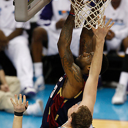 Mar 24, 2010; New Orleans, LA, USA; Cleveland Cavaliers forward LeBron James (23) shoots over New Orleans Hornets forward Darius Songaila (9) during the second half at the New Orleans Arena. The Cavaliers defeated the Hornets 105-92. Mandatory Credit: Derick E. Hingle-US PRESSWIRE