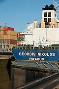 Cargo ship at Miraflores Locks. Panama Canal, Panama City, Panama, Central America.