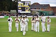 The Somerset players walk from the field after beating Worcestershire during the Specsavers County Champ Div 1 match between Somerset County Cricket Club and Worcestershire County Cricket Club at the Cooper Associates County Ground, Taunton, United Kingdom on 22 April 2018. Picture by Graham Hunt.