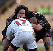2005/06, Heineken Cup, 4th Rd, Sarracens Tevita Vaikona,  supported by Kris Chesney tries to brek through the tackle from  Justin Fitzpatrick. Saracens vs Ulster, Vicarage Road, ENGLAND   © Peter Spurrier/Intersport Images - email images@intersport-images..