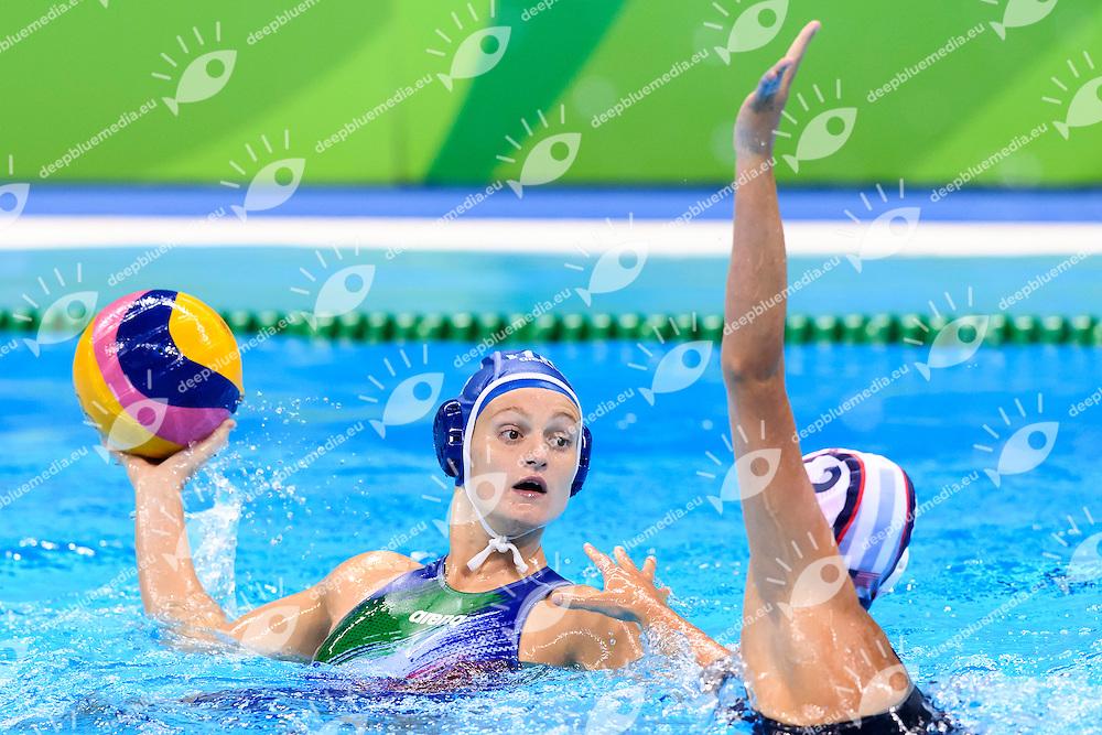 QUEIROLO Elisa ITA MUSSELMAN Madeline USa <br /> Rio de Janeiro 19-08-2016 Olympic Aquatics Stadium  - Water Polo <br /> USA - ITALY Final <br />  Foto Andrea Staccioli/Deepbluemedia/Insidefoto