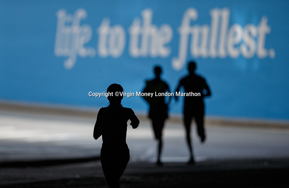 Mary Keitany KEN during the Women's Elite Race. The Virgin Money London Marathon, 23rd April 2017.<br /> <br /> Photo: Ben Queenborough for Virgin Money London Marathon<br /> <br /> For further information: media@londonmarathonevents.co.uk
