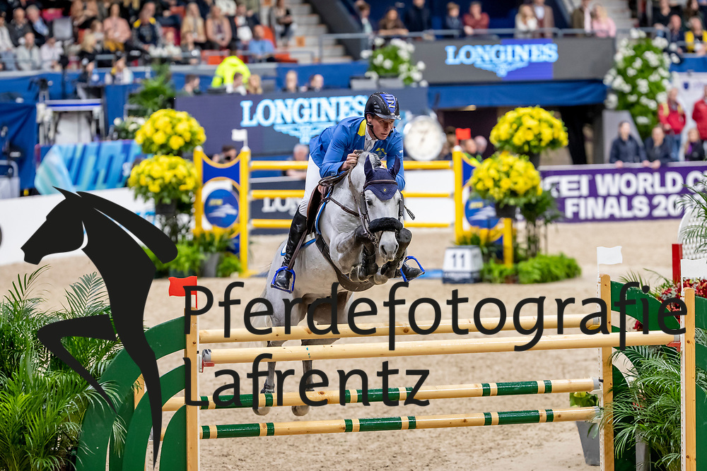 AHLMANN Christian (GER), Clintrexo Z<br /> Göteborg - Gothenburg Horse Show 2019 <br /> Longines FEI World Cup™ Final II<br /> Int. jumping competition with jump-off (1.50 - 1.60 m)<br /> Longines FEI Jumping World Cup™ Final and FEI Dressage World Cup™ Final<br /> 05. April 2019<br /> © www.sportfotos-lafrentz.de/Stefan Lafrentz