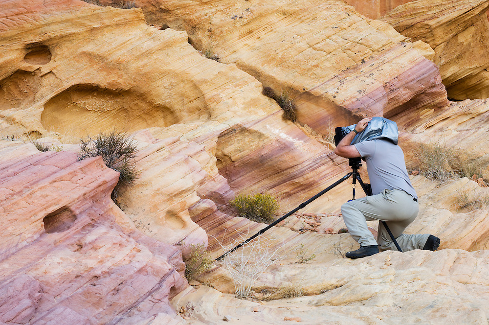 David Whistance photographing rock patterns, Valley of Fire State Park, Nevada
