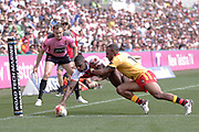 Jermaine Mcgillvary of England scores his second try during the Rugby League World Cup Quarter-Final match between England and  Papua New Guinea at Melbourne Rectangular Stadium, Melbourne, Australia on 19 November 2017. Photo by Mark  Witte.