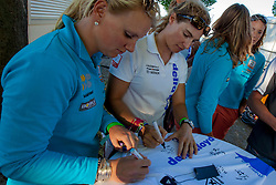 Signing Delta Lloyd shirts by the Dutch Olympic team. May 26th 2012. Delta Lloyd Regatta  (22/26 May 2012). Medemblik - the Netherlands.
