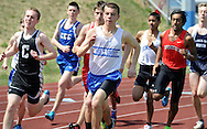 BENSALEM, PA - APRIL 12:  Holy Ghost Prep's Patrick Dineen leads the way in the 1600 meter run during Bensalem Invitational boys track and field meet at Bensalem High School April 12, 2014 in Bensalem Pennsylvania. Dineen won the race.(Photo by William Thomas Cain/Cain Images)
