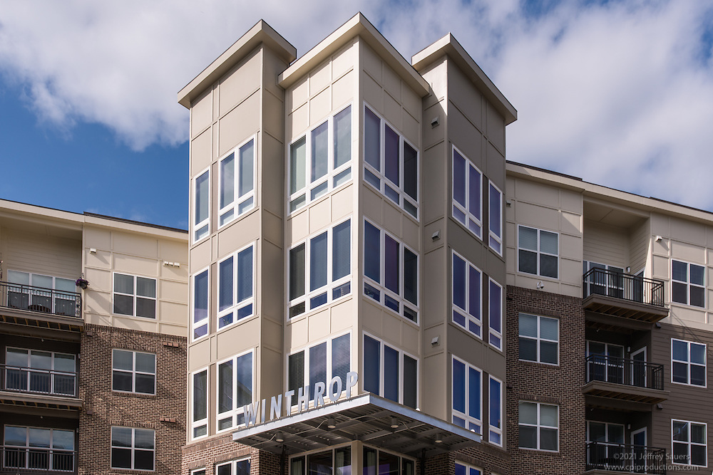 Architectural Image of the Winthrop Apartments building in Towson Maryland by Jeffrey Sauers of Commercial Photographics, Architectural Photo Artistry in Washington DC, Virginia to Florida and PA to New England