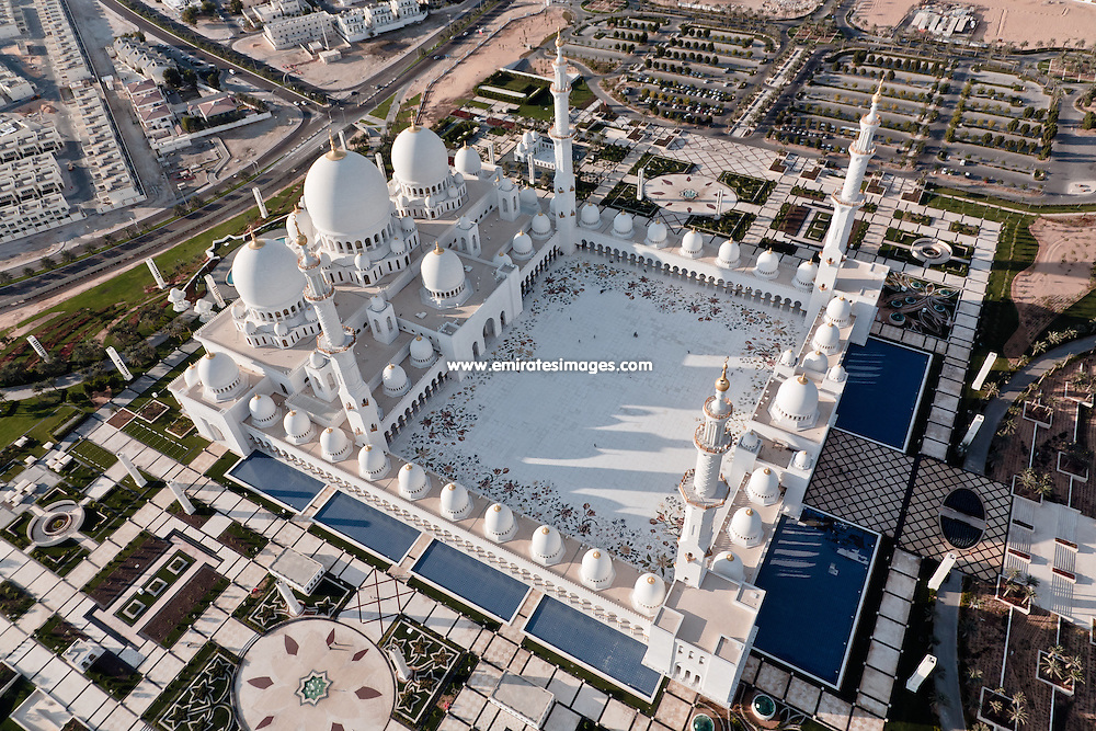 Abu Dhabi aerial shot of Sheikh Zayed Mosque