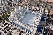 Abu Dhabi aerial shot of Sheikh Zayed Mosque