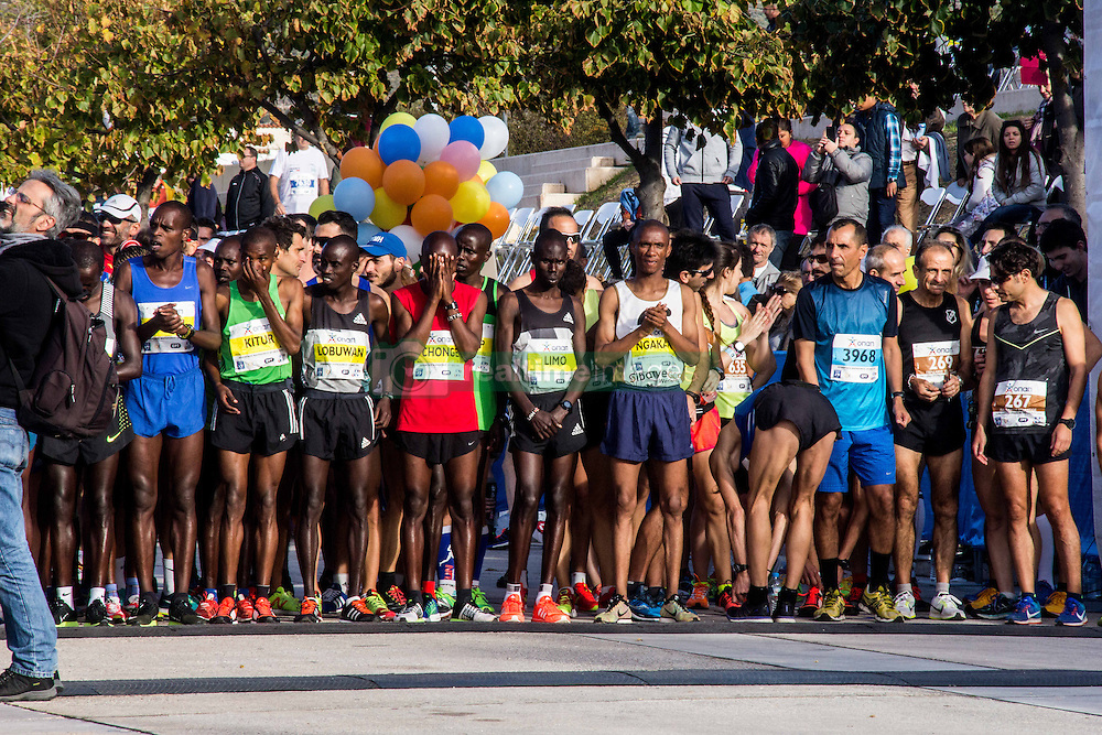 November 13, 2016 - Athens, Greece - The runners get ready at the starting line. The 34st Athens Authentic Marathon marks the 120th anniversary of the first contemporary Marathon race in 1896. The event is inspired by the ancient hemerodromos that run from Marathonas to Athens to bring the victorious news of the battle against Persians in 480 BC. The race of 1896 was won by the Greek Spiros Louis. The event is dedicated to Grigoris Lambrakis, a doctor, Balkan Athletic Games champion and pacifist. At the Marathon race more than 18000 athletes competed, making a new record of participants. (Credit Image: © Kostas Pikoulas/Pacific Press via ZUMA Wire)