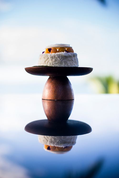 A coconut and mango bedside cake at the Four Seasons in Koh Samui, Thailand.