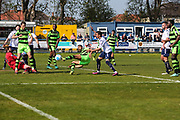 Forest Green Rovers Curtis Tilt(2) attempts a shot at goal during the Vanarama National League match between Guiseley  and Forest Green Rovers at Nethermoor Park, Guiseley, United Kingdom on 8 April 2017. Photo by Shane Healey.