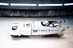 14.02.2016, Olympiaeisbahn Igls, Innsbruck, AUT, FIBT WM, Bob und Skeleton, Zweierbob Herren, 3. Lauf, im Bild Alexey Negodaylo und Kirill Antukh (RUS) // Alexey Negodaylo and Kirill Antukh of Russian Federation competes during two men Bobsleigh 3rd run of FIBT Bobsleigh and Skeleton World Championships at the Olympiaeisbahn Igls in Innsbruck, Austria on 2016/02/14. EXPA Pictures © 2016, PhotoCredit: EXPA/ Johann Groder