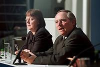 11 JAN 2000, BERLIN/GERMANY:<br /> Wolfgang Sch&auml;uble, CDU Vorsitzender, w&auml;hrend der Pressekonferenz &quot;100.000-Mark-Spende des Waffenh&auml;ndlers Schreiber&quot;, im Hintergrund: Angela Merkel, CDU Generalsekret&auml;rin, CDU Bundesgesch&auml;ftsstelle<br /> IMAGE: 20000111-01/02-06<br /> KEYWORDS: Wolfgang Schaeuble