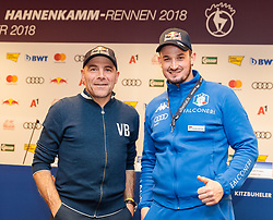 17.01.2018, Pressecenter, Kitzbühel, AUT, FIS Weltcup Ski Alpin, Kitzbuehel, Pressekonferenz, HKR Organisationskomitee, im Bild Axel Naglich (Streckenchef Stellvertreter), Dominik Paris (ITA) // Axel Naglich (Deputy Chief of Course) Dominik Paris of Italy during a press conference of HKR Organizing Comittee prior to the FIS Ski Alpine World Cup at the Pressecenter in Kitzbühel, Austria on 2018/01/17. EXPA Pictures © 2018, PhotoCredit: EXPA/ Johann Groder