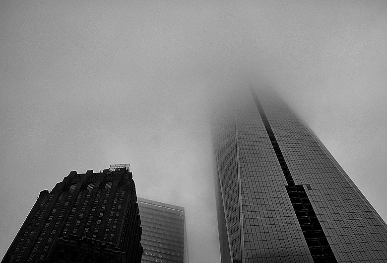 One World Trade Center in the fog