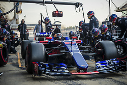 March 10, 2017 - Montmelo, Catalonia, Spain - The team of Toro Rosso changes the wheels of CARLOS SAINZ JR.'s (ESP) car at the pit stop at day 8 of Formula One testing at Circuit de Catalunya (Credit Image: © Matthias Oesterle via ZUMA Wire)