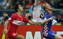 Arda Turan of Turkey and Ivan Rakitic of Croatia during the UEFA EURO 2008 Quarter-Final soccer match between Croatia and Turkey at Ernst-Happel Stadium, on June 20,2008, in Wien, Austria.  (Photo by Vid Ponikvar / Sportal Images)