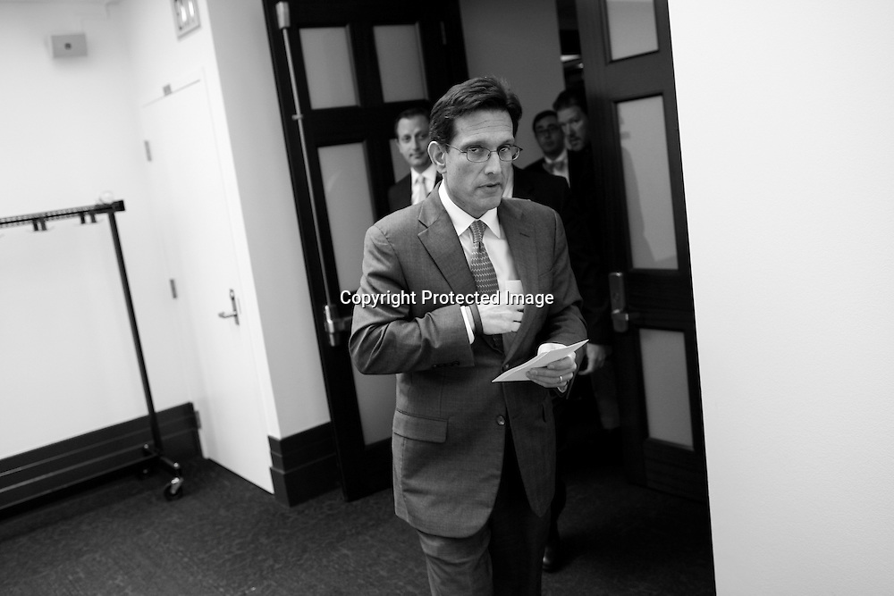 U.S. House Majority Leader Eric Cantor (R-VA) departs after a closed-door meeting of the House Republican caucus during a rare Saturday session at the U.S. Capitol in Washington, September 28, 2013.