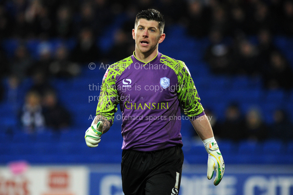 Keiren Westwood, the Sheffield Wed goalkeeper looks on. Skybet football league championship match, Cardiff city v Sheffield Wednesday at the Cardiff city stadium in Cardiff, South Wales on Saturday 12th December 2015.<br /> pic by Andrew Orchard, Andrew Orchard sports photography.