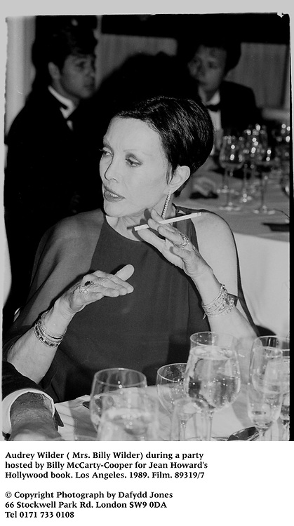Audrey Wilder ( Mrs. Billy Wilder) during a party hosted by Billy McCarty-Cooper for Jean Howard's Hollywood book. Los Angeles. 1989. Film.89319/7<br /><br />© Copyright Photograph by Dafydd Jones<br />66 Stockwell Park Rd. London SW9 0DA<br />Tel 0171 733 0108