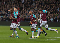 Football - 2017 / 2018 EFL (League) Cup - Third Round: West Ham United vs. Bolton Wanderers<br /> <br /> Angelo Ogbonna (West Ham United) with muted celebrations after he gives his team the lead at the London Stadium.<br /> <br /> <br /> COLORSPORT/DANIEL BEARHAM