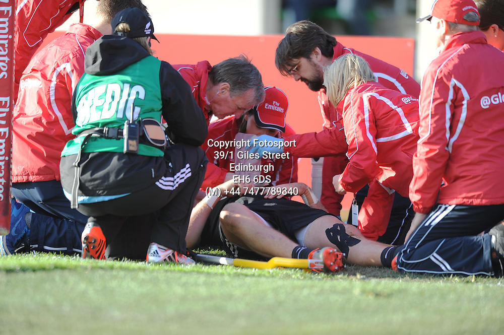 Tim Mikkelson - New Zealand is tended to by the medics after injuring himself whilst scoring a try inthe corner.<br />