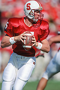 PALO ALTO, CA -  OCTOBER 2:  Scott Frost #5 of the Stanford Cardinal attempts a pass during an NCAA football game against Notre Dame played on October 2, 1993 at Stanford Stadium in Palo Alto, California. (Photo by David Madison/Getty Images) *** Local Caption *** Scott Frost