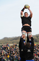 Bath Rugby lock and captain Stuart Hooper catches the line-up ball during warm-up at the Recreation Ground before facing Wasps - Photo mandatory by-line: Paul Knight/JMP - Mobile: 07966 386802 - 10/01/2015 - SPORT - Rugby - Bath - The Recreation Ground - Bath Rugby v Wasps - Aviva Premiership
