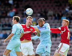 Bristol City's Aden Flint heads the ball towards goal - Photo mandatory by-line: Dougie Allward/JMP - Tel: Mobile: 07966 386802 11/08/2013 - SPORT - FOOTBALL - Sixfields Stadium - Sixfields Stadium -  Coventry V Bristol City - Sky Bet League One