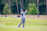 Rickie Fowler (USA) hits his second shot to the 11th green during the second round of the Aberdeen Standard Investments Scottish Open at The Renaissance Club, North Berwick, Scotland on 12 July 2019.
